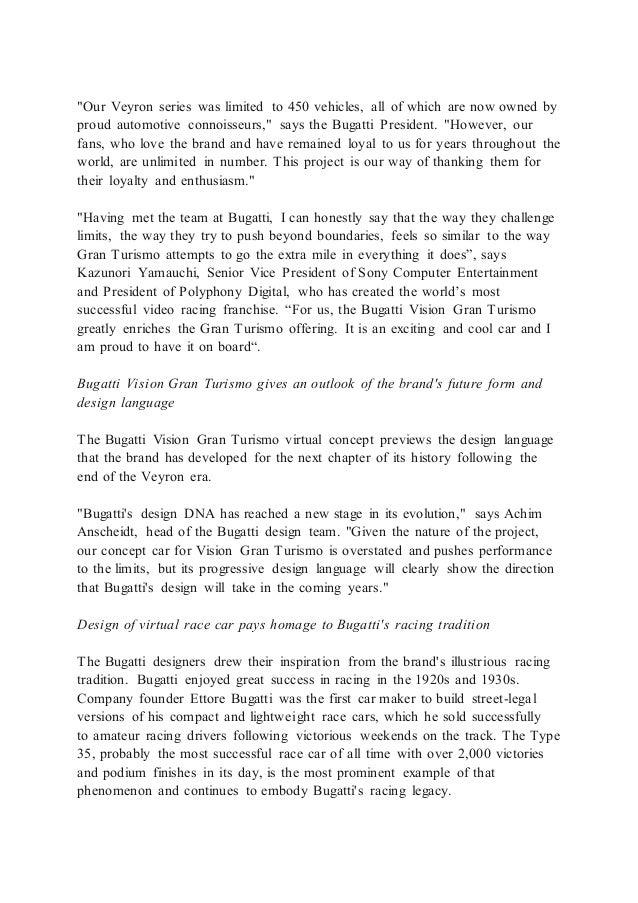 Bugatti Vision Gran Turismo - Press Release