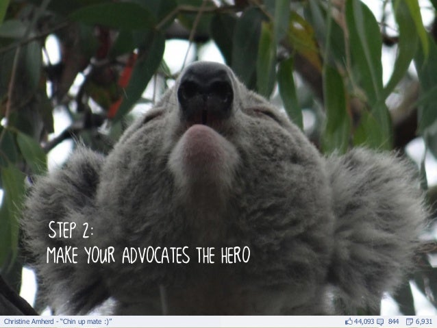 """Christine Amherd - """"Chin up mate :)""""         44,093   844   6,931              step 2:              make your advocates th..."""