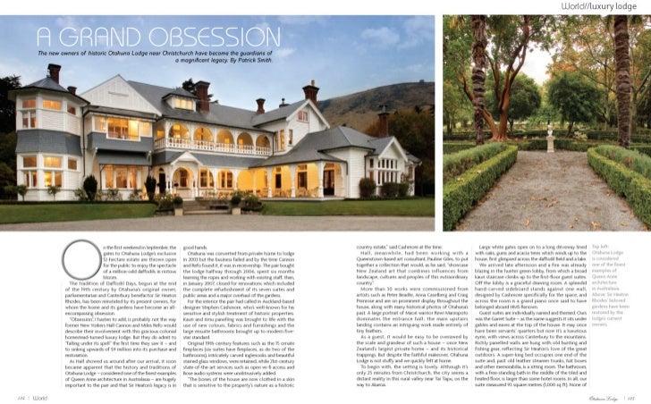 World September 2008  - Otahuna Luxury Lodge New Zealand
