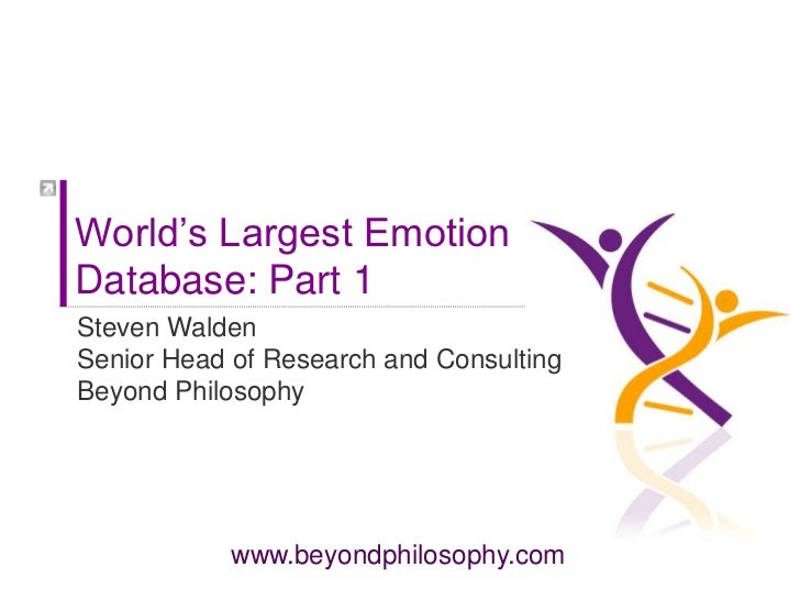 World's Largest Emotion Database: Part 1<br />Steven Walden<br />Senior Head of Research and Consulting Beyond Philosophy<...