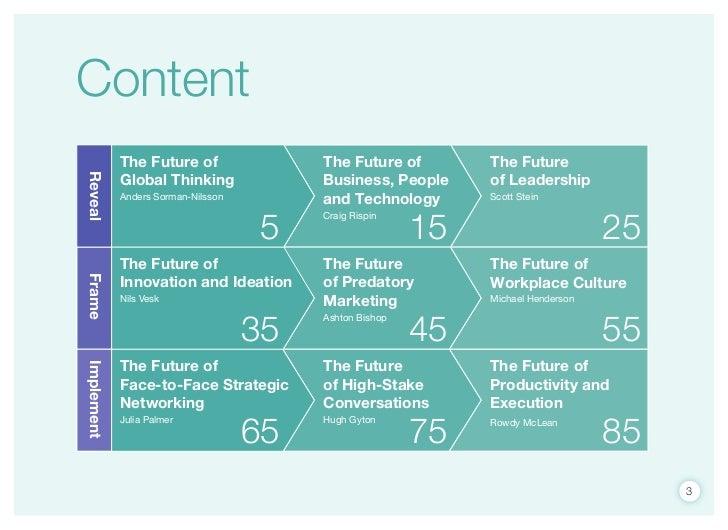 Content            The Future of                The Future of        The Future            Global Thinking              Bu...