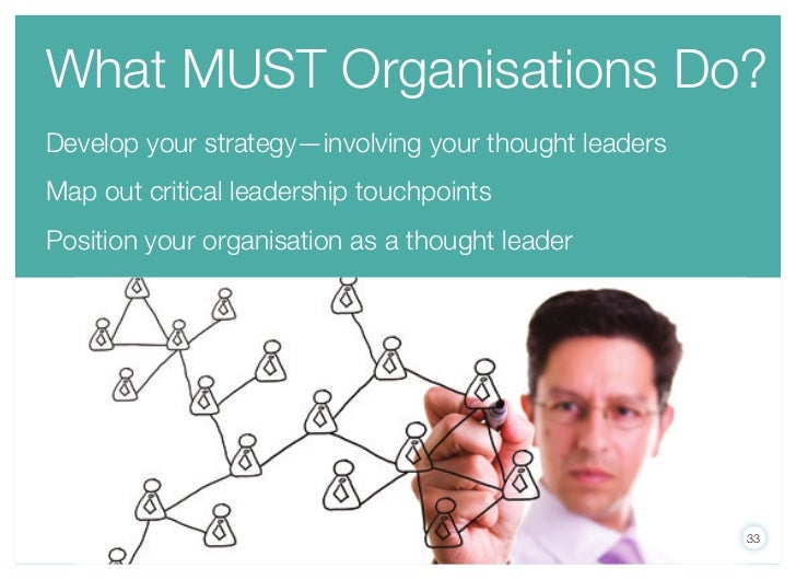 What MuST Organisations Do?Develop your strategy—involving your thought leadersMap out critical leadership touchpointsPosi...