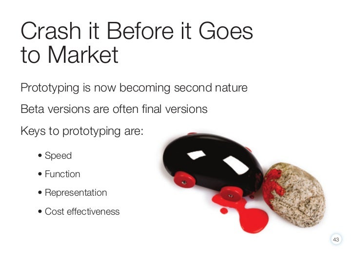 Crash it Before it Goesto MarketPrototyping is now becoming second natureBeta versions are often final versionsKeys to pro...