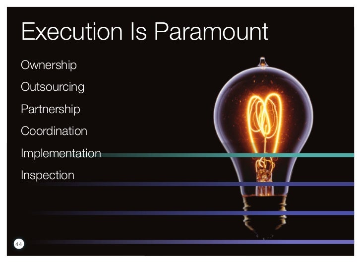 Execution Is Paramount Ownership Outsourcing Partnership Coordination Implementation Inspection44