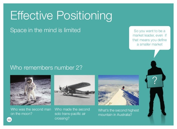 Effective Positioning Space in the mind is limited                                                So you want to be a     ...
