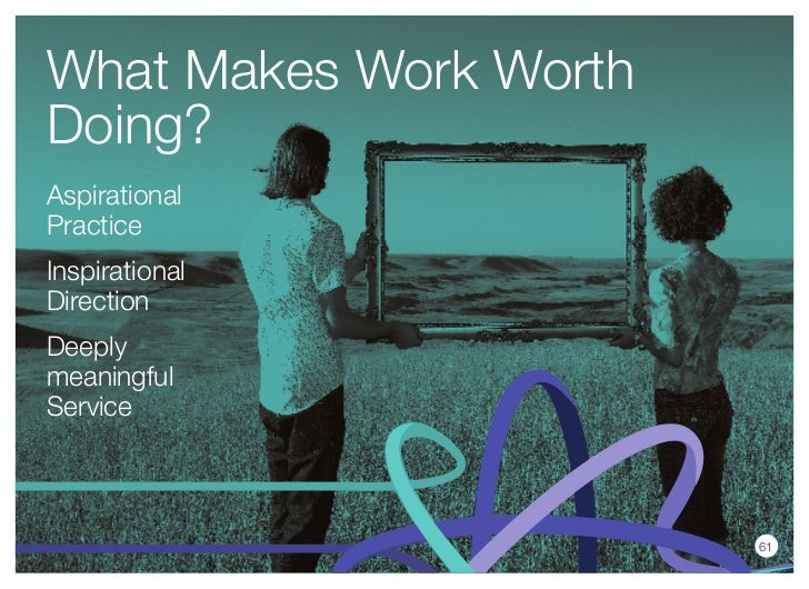 What Makes Work WorthDoing?AspirationalPracticeInspirationalDirectionDeeplymeaningfulService                        61