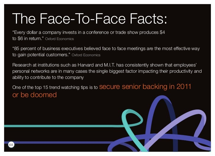 """The Face-To-Face Facts: """"Every dollar a company invests in a conference or trade show produces $4 to $6 in return."""" Oxford..."""