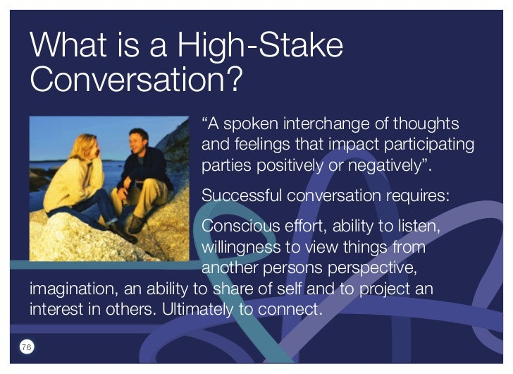 """What is a High-Stake Conversation?                          """"A spoken interchange of thoughts                          and..."""