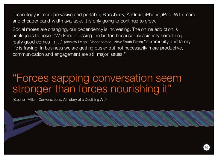 Technology is more pervasive and portable; Blackberry, Android, iPhone, iPad. With moreand cheaper band-width available. I...
