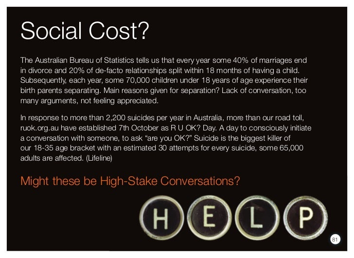 Social Cost?The Australian Bureau of Statistics tells us that every year some 40% of marriages endin divorce and 20% of de...