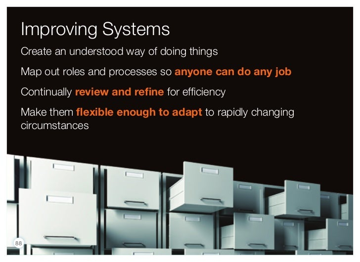 Improving Systems Create an understood way of doing things Map out roles and processes so anyone can do any job Continuall...