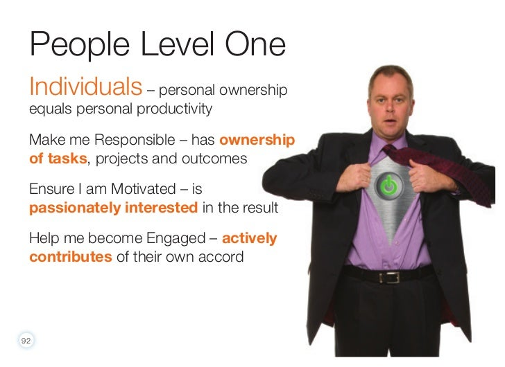 People Level One Individuals – personal ownership equals personal productivity Make me Responsible – has ownership of task...