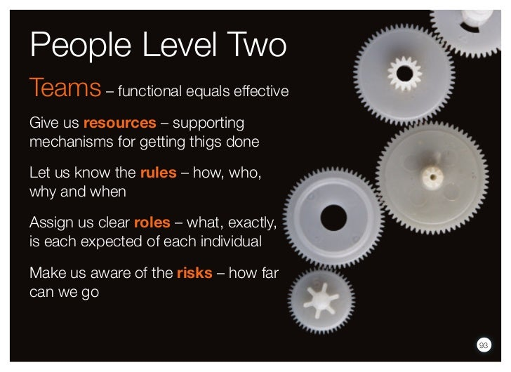 People Level TwoTeams – functional equals effectiveGive us resources – supportingmechanisms for getting thigs doneLet us k...