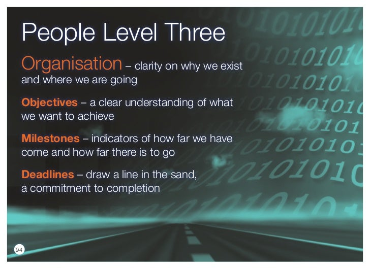 People Level Three Organisation – clarity on why we exist and where we are going objectives – a clear understanding of wha...