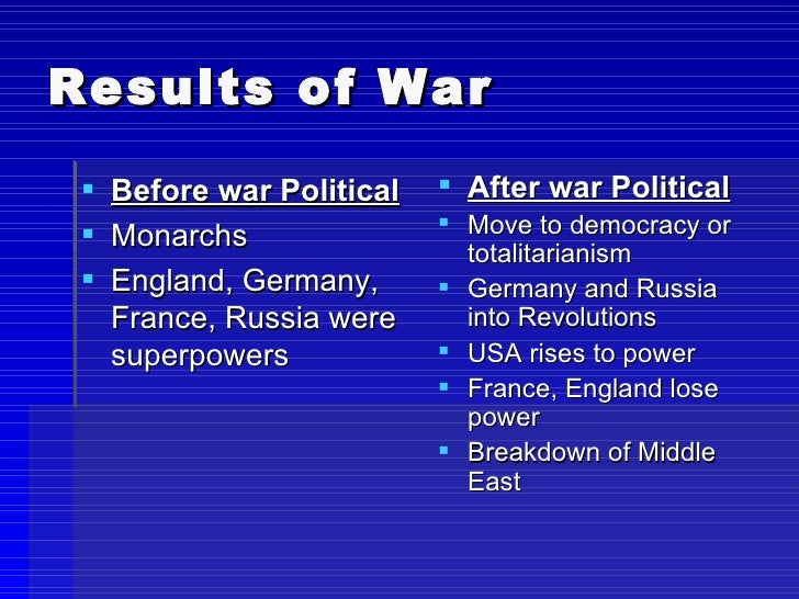 the results of world war 1 The conference was called to establish the terms of the peace after world war i though nearly thirty nations participated, the representatives.