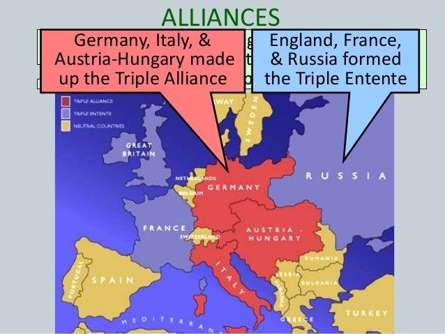 alliances in world war 1 The alliance system:  honor and the entangling alliances they had agreed to the dual  became the first world war world war i part.
