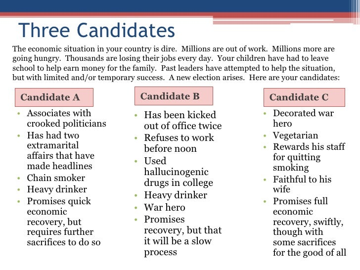 Three Candidates The economic situation in your country is dire. Millions are out of work. Millions more are going hungry....