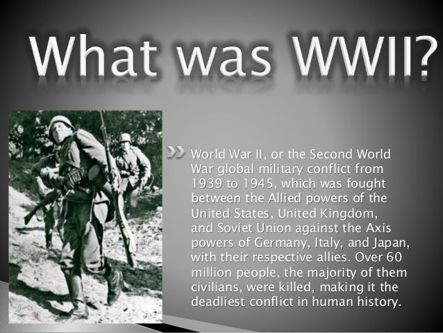 explain how the second world war World war ii (often abbreviated to wwii or ww2), also known as the second world war, was a global war that lasted from 1939 to 1945, although conflicts reflecting the ideological clash between what would become the allied and axis blocs began earlier.