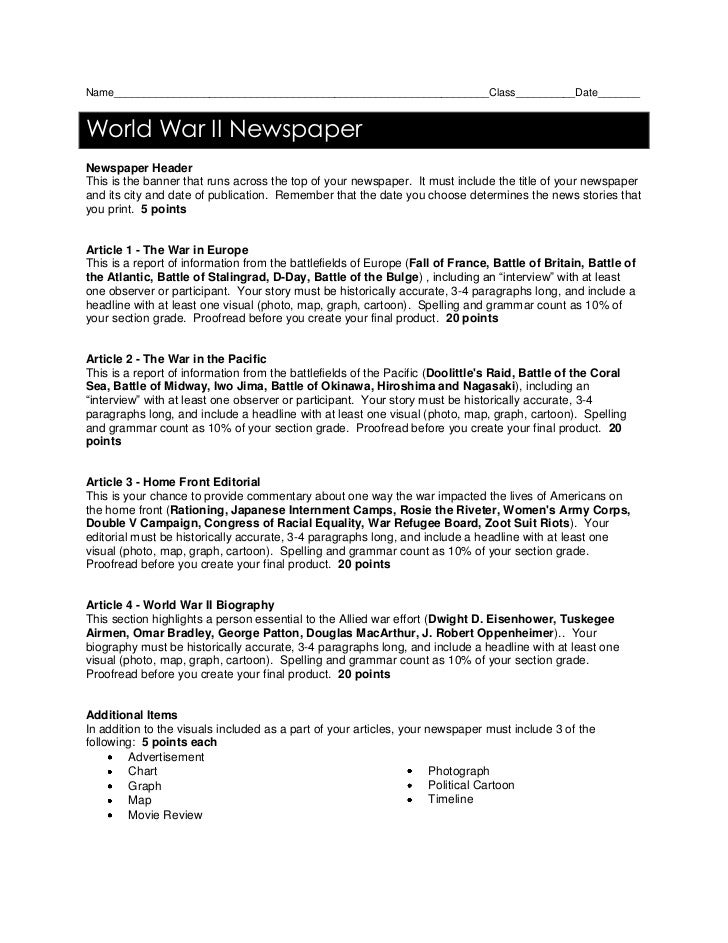 Name_______________________________________________________________Class__________Date_______<br />World War II Newspaper ...