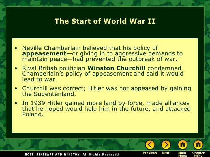 the contribution of appeasement to the outbreak of world war ii Understand the role of appeasement, nonintervention (isolationism), and the domes tic distractions in europe and the united states prior to the outbreak of world war ii  and the domes tic distractions in europe and the united states prior to the outbreak of world war ii common core  ccssela-literacyri9-1010  the graphic.