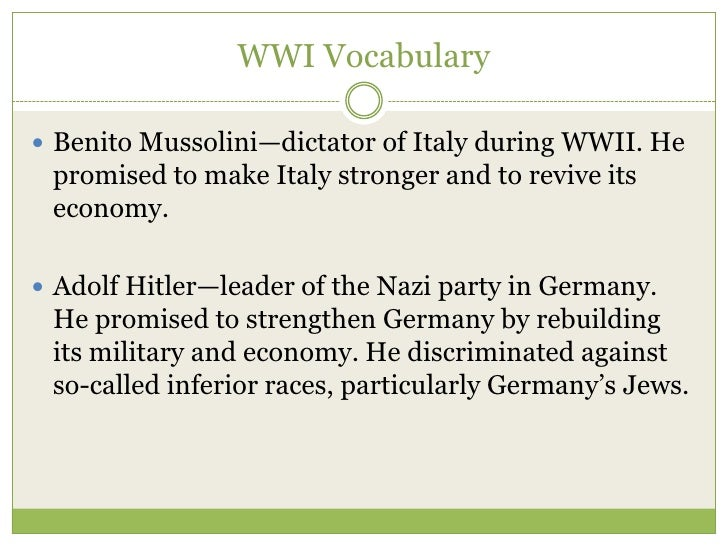wwii vocab essay Having the right vocabulary is crucial for writing a first-class essay these words and phrases will get you set on the right track.