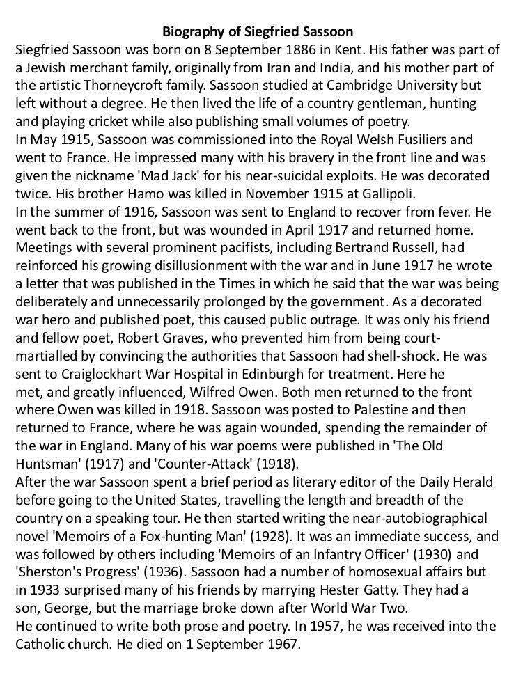 siegfried sassoon the hero essay Private: tranzended  private: forum  how to earn money on spirituality, without compromising yourself  the hero siegfried sassoon essay this topic contains 0 replies, has 1 voice, and was last updated by urdiracar1972 4 days, 22 hours ago.