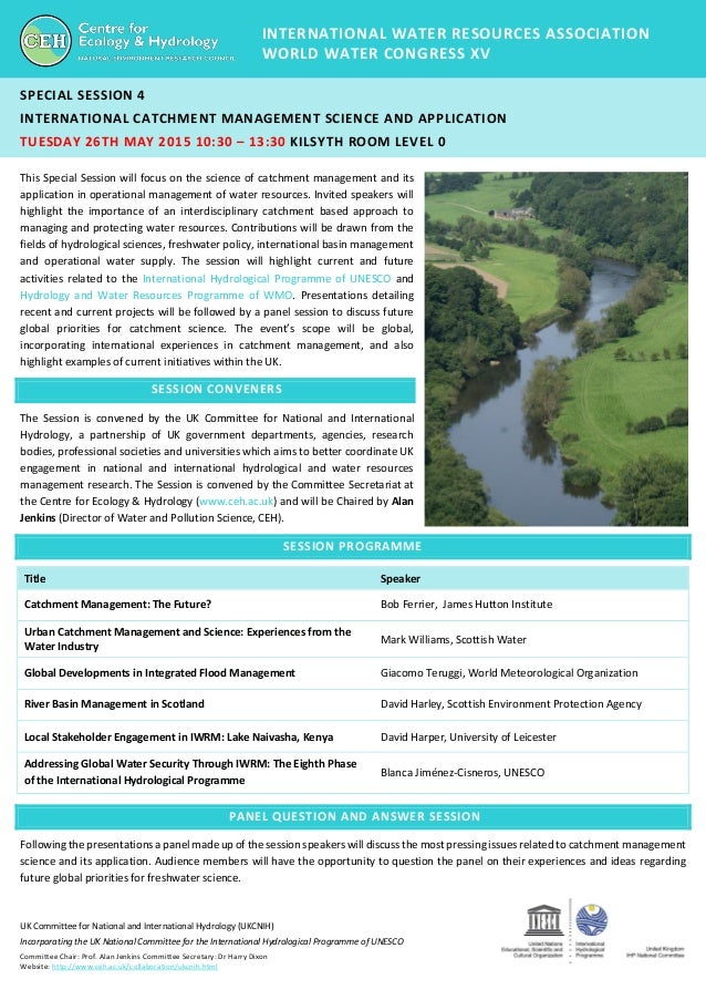 UK Committee for National and International Hydrology (UKCNIH) Incorporating the UK National Committee for the Internation...