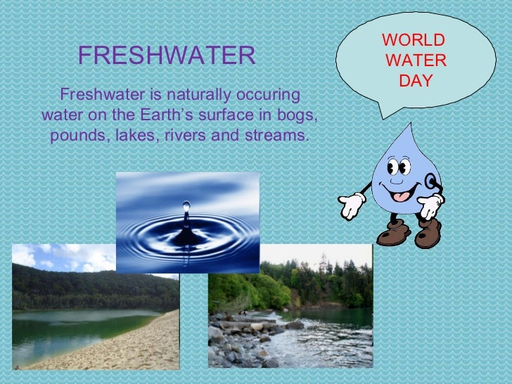 WORLD  WATER DAY FRESHWATER Freshwater is naturally occuring water on the Earth's surface in bogs, pounds, lakes, rivers a...