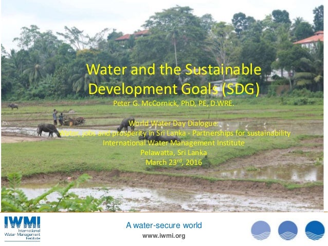 www.iwmi.org A water-secure world Water and the Sustainable Development Goals (SDG) Peter G. McCornick, PhD, PE, D.WRE. Wo...