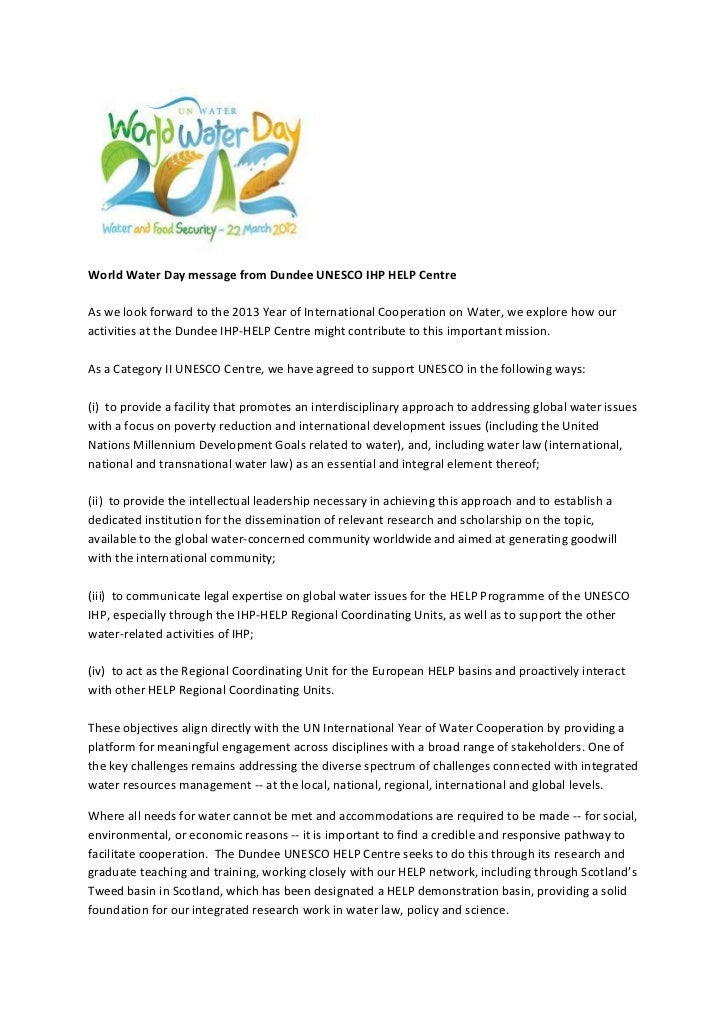 World Water Day message from Dundee UNESCO IHP HELP CentreAs we look forward to the 2013 Year of International Cooperation...