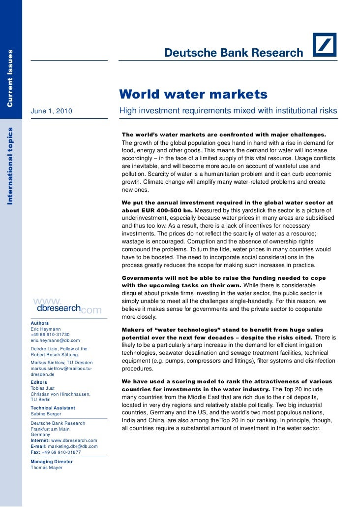 Current Issues                                                           World water markets                        June 1...