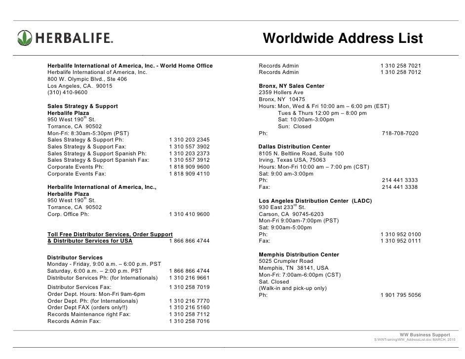 Worldwide Herbalife Addresses