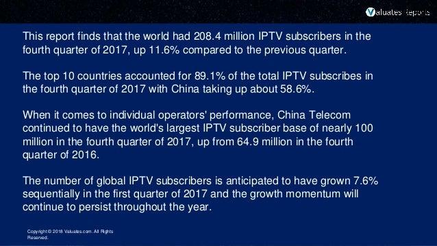 Worldwide iptv subscriber market, 1 q 2018