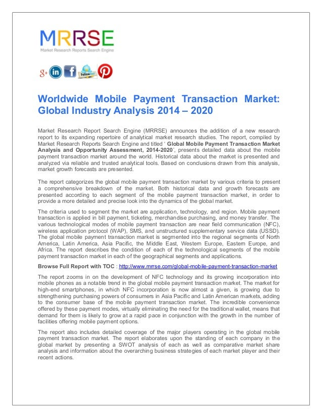 Worldwide mobile payment transaction market global industry analysis…