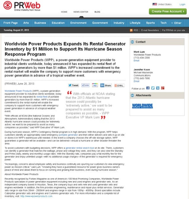 Worldwide Power Products Expands Its Rental Generator Inventory by $1 Million to Support Its Hurricane Season Response Pro...