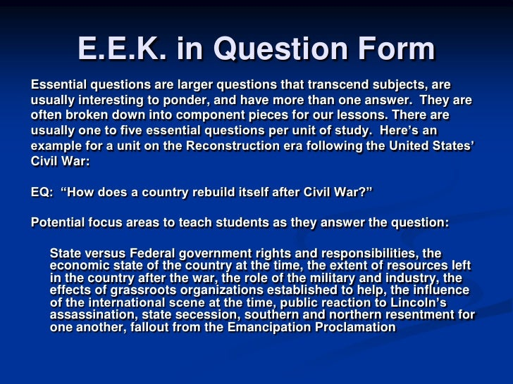 period 5 essential questions Essential question(s): how was culture reborn in europe in the 1400s period 5: key concept: our topic: overview of the modern period : required pre-reading.