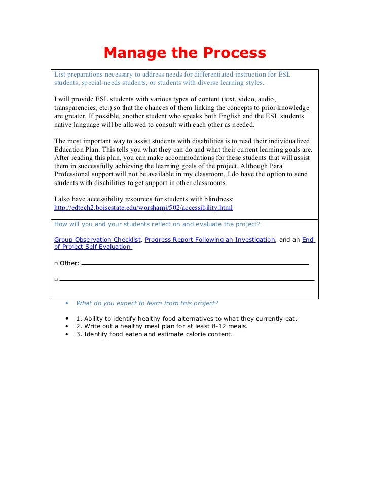 Manage the ProcessList preparations necessary to address needs for differentiated instruction for ESLstudents, special-nee...