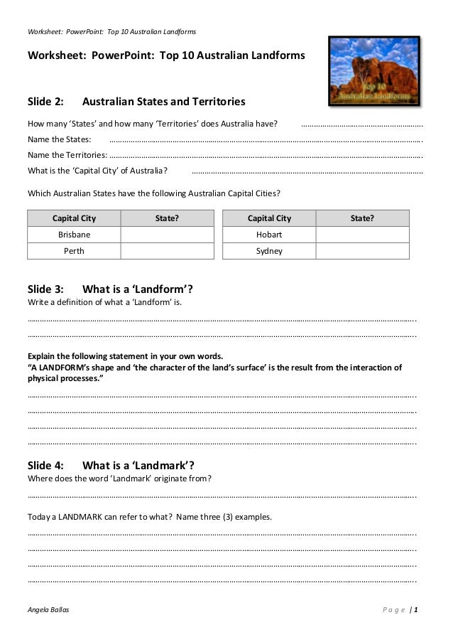 Worksheet Top 10 Australian Landforms – Landforms Worksheet