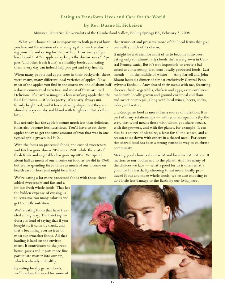 """an explanation of eating responsibly in the article the pleasures of eating by wendell berry Idea, comparison, anecdote, explanation  the pleasures of eating by wendell berry  or increase my pleasure in eating 2 """"eat responsibly,"""" i have."""