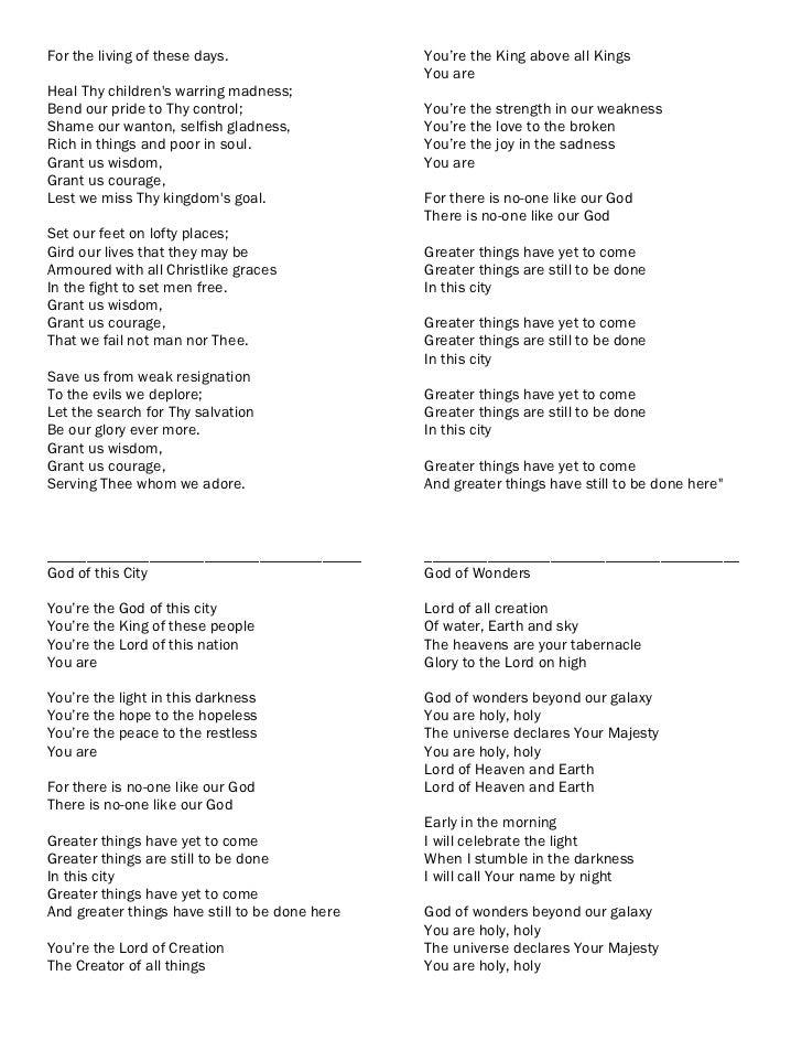 Worship songslyrics