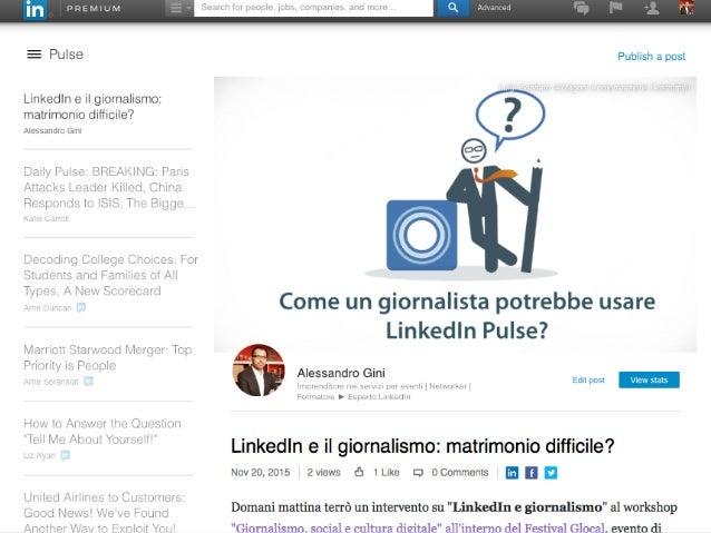 Workshop LinkedIn e il Giornalismo Slide 2