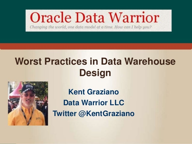 Worst Practices in Data Warehouse  Design  Kent Graziano  Data Warrior LLC  Twitter @KentGraziano