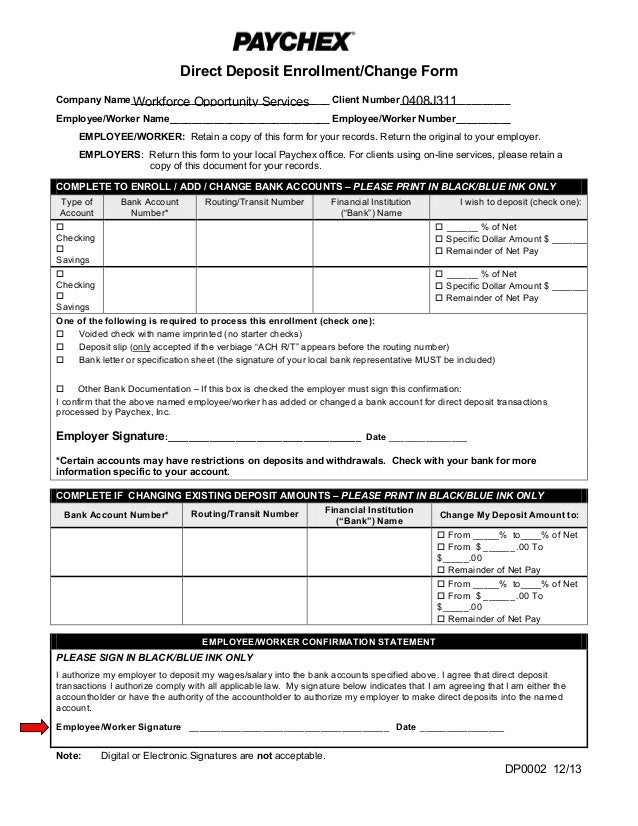 paychex direct deposit form Wos paychex direct deposit form 2014