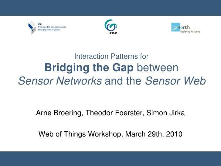 Interaction Patterns for Bridging the Gap betweenSensor Networks and the Sensor Web<br />Arne Broering, Theodor Foerster, ...