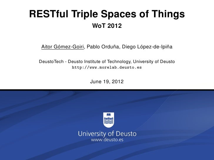 RESTful Triple Spaces of Things                          WoT 2012         ´                     ˜          ´          ˜  A...