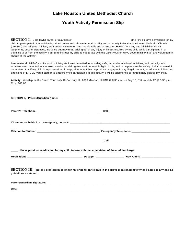 Lake Houston United Methodist Church                                               Youth Activity Permission Slip   SECTIO...