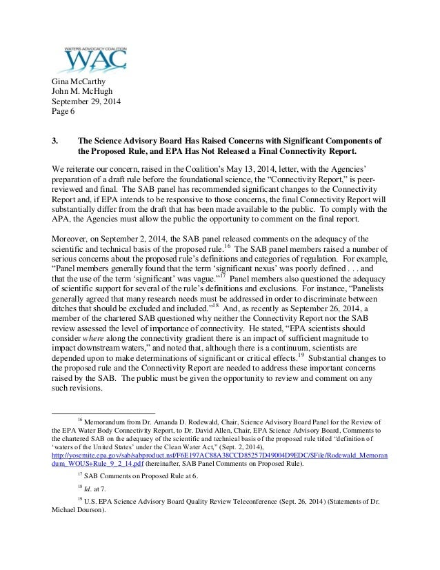 Coalition letter urging withdrawal of epacorps waters of the us 6 stopboris Image collections