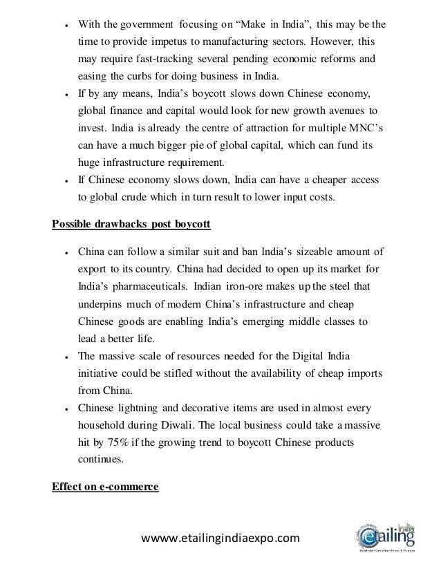 effect of chinese goods on indian economy This is the group discussion on chinese goods vs indian goods  of country and also it will provide employment for the most of the people of the country which will lead to a better effect on economy of india so people must use indian goods and avoid chinese for ones nation development  if we opt for the chinese goods then indian.