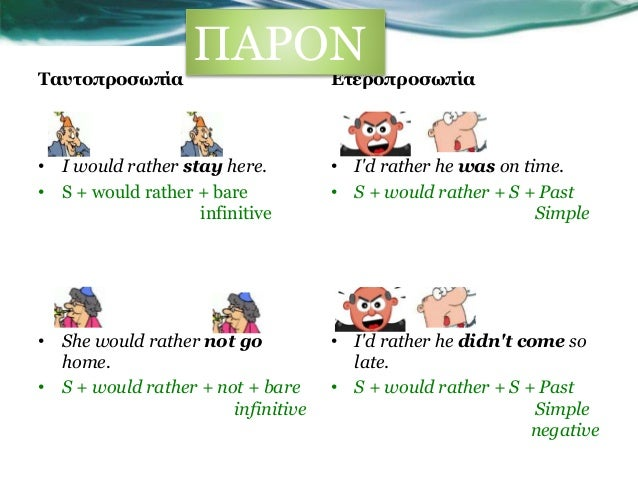 Would rather  theory for Greek ESL students  Slide 3
