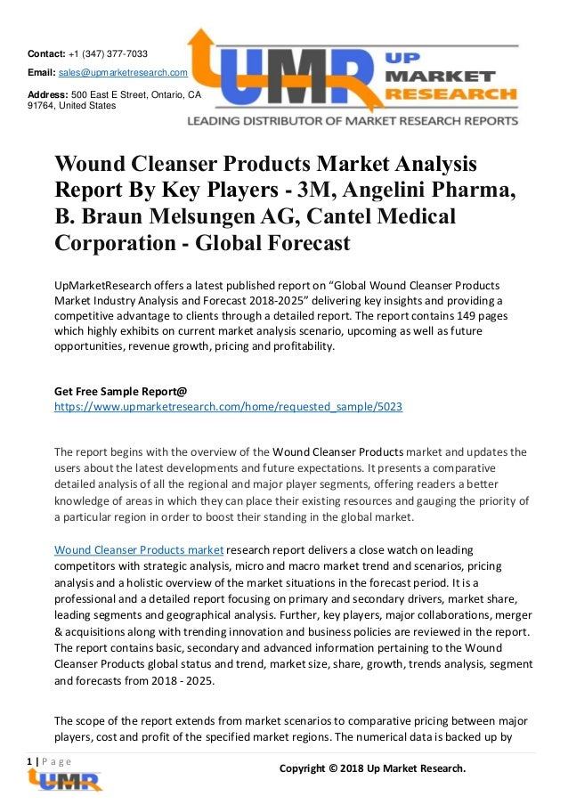 Wound Cleanser Products Market Analysis Report By Key Players - 3M, A…